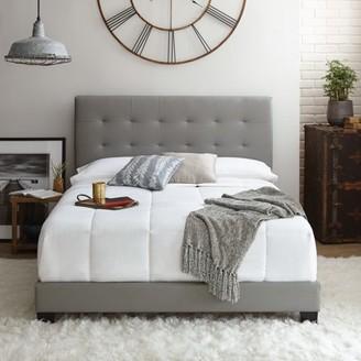 Premier Zurich II Upholstered Tufted Faux Leather Platform Bed Frame with Bonus Base Wooden Slat System, Multiple Colors & Sizes
