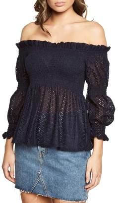 Bardot Shirred Off the Shoulder Top