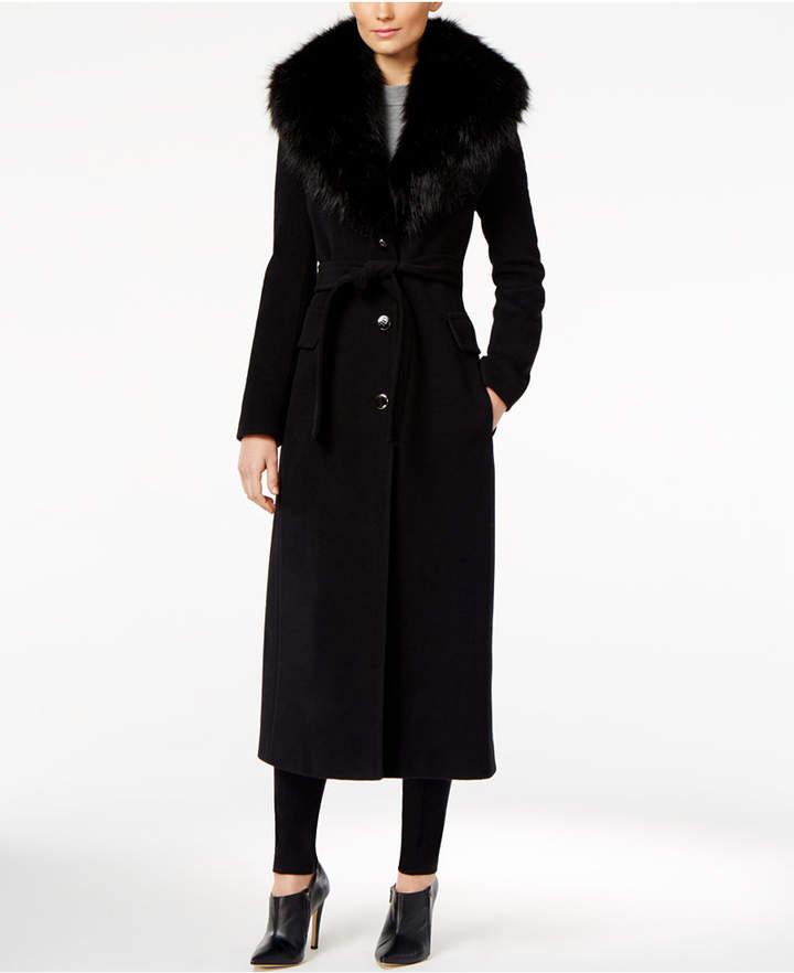 Calvin KleinCalvin Klein Faux-Fur-Trim Belted Maxi Walker Coat
