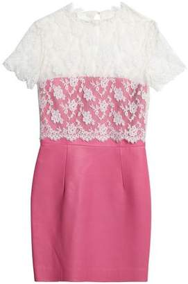 Valentino Layered Chantilly Lace And Leather Mini Dress