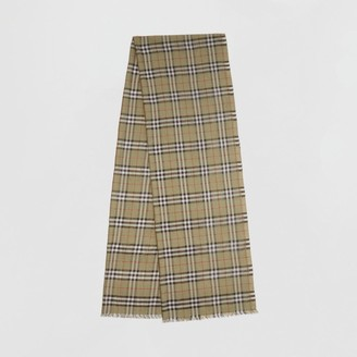 Burberry Metallic Vintage Check Wool Silk Blend Scarf
