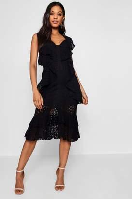 boohoo Anglais Ruffle Detail Midi Dress