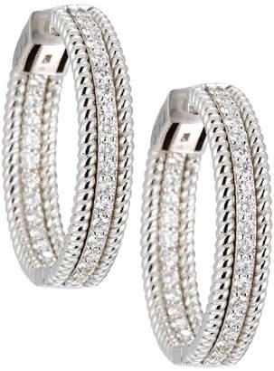Neiman Marcus Diamonds 14k White Gold Twisted Diamond Hoop Earrings, 2.0tcw