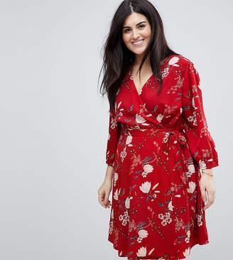 Yumi Plus Wrap Dress in Floral Print