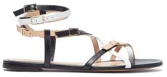 Gianvito Rossi Cross Strap Leather Sandals - Womens - White Multi
