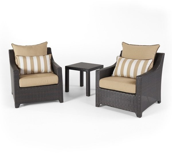 RST Brands Deco Maxim Beige Club Chairs and Side Table