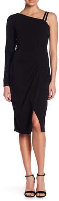 Rachel Roy Asymmetrical Side Pleated Midi Dress