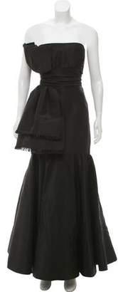 Oscar de la Renta Bow-Accented Strapless Gown
