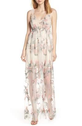 AVEC LES FILLES Floral Embroidered Maxi Dress