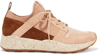 Vince Galvin Suede, Leather And Neoprene Sneakers - Neutral