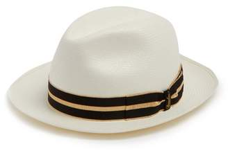 Borsalino Striped Band Fine Panama Hat - Mens - Cream