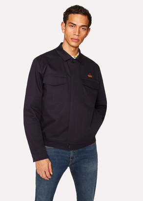 Paul Smith Men's Navy Stretch-Cotton Patch-Pocket Jacket With 'Octopus' Embroidery