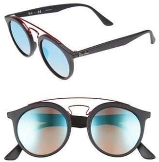 Women's Ray-Ban 49Mm Gatsby Round Sunglasses - Blue/ Black $165 thestylecure.com