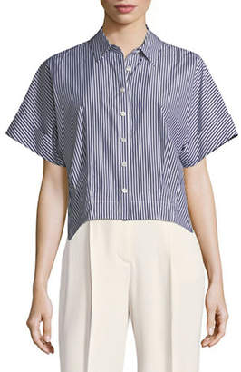 Theory Striped Cotton Cropped Button-Down Shirt