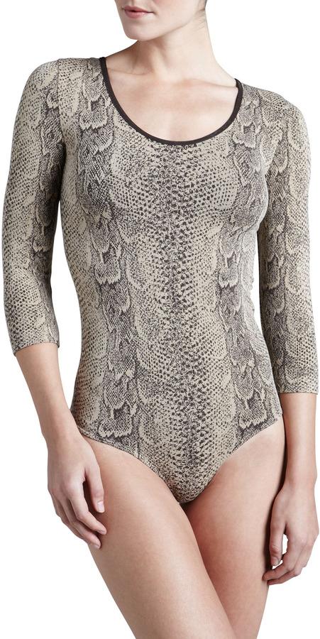 Wolford Rattlesnake G-String Bodysuit, Coffee