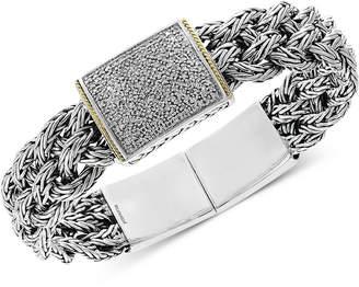 Effy Diamond Pave Woven Bracelet (1/2 ct. t.w.) in Sterling Silver & 18k Gold