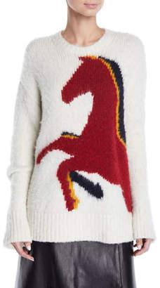 Derek Lam Crewneck Long-Sleeve Horse-Intarsia Wool-Alpaca Sweater