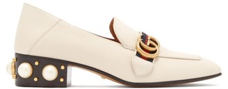Gucci Peyton Pearl Embellished Leather Loafers - Womens - White