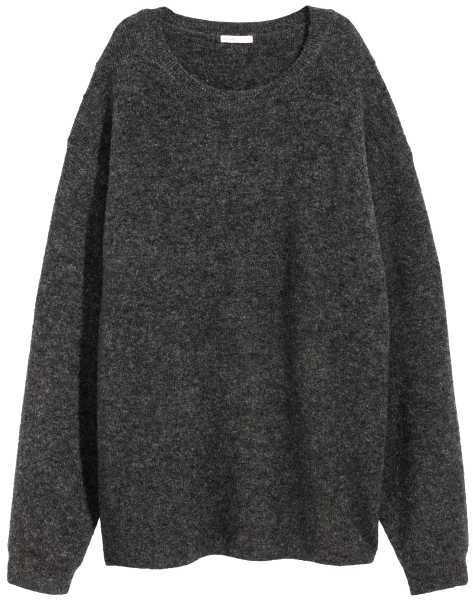H&M - Oversized Mohair-blend Sweater - Dark gray melange - Ladies