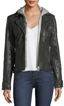 Moto LaMarque Leather Hooded Jacket