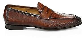 Saks Fifth Avenue Lizard Skin Penny Loafers