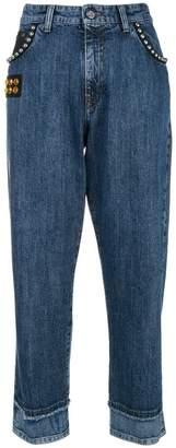 Miu Miu embellished straight-leg cropped jeans