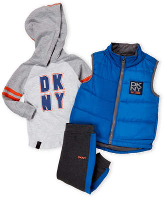 DKNY Infant Boys) 3-Piece Puffer Vest & Joggers Set