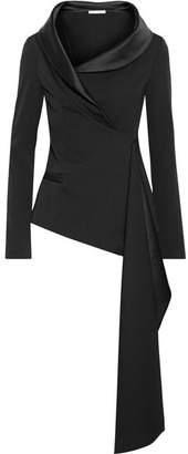 Oscar de la Renta Asymmetric Satin-trimmed Draped Wool-blend Jacket - Black