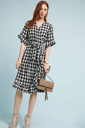 Isabella Sinclair Gingham Flutter Wrap Dress $158 thestylecure.com