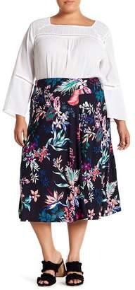 Joe Fresh Floral Pull-On Midi Skirt (Plus Size)
