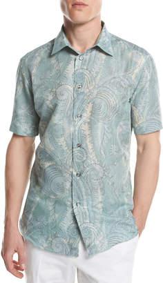 Brioni Large Paisley Short-Sleeve Sport Shirt, Green