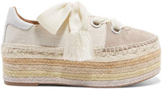 Chloé Qai Canvas, Suede And Leather Espadrille Platform Sneakers - Ivory