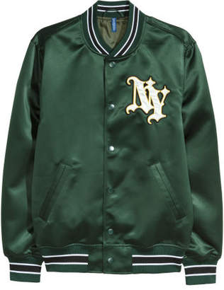 H&M Embroidered Baseball Jacket - Green
