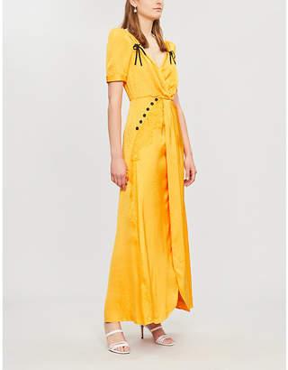 Self-Portrait Gathered satin-jacquard maxi dress