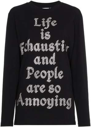 Ashish Crystal embellished slogan top