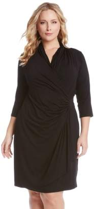 Karen Kane Three Quarter Sleeve Jersey Cascade Faux Wrap Dress