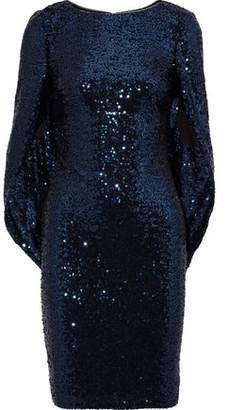 Badgley Mischka Cape-Effect Sequined Jersey Dress