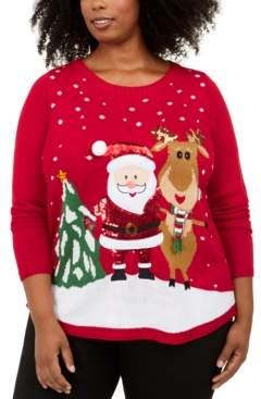 Karen Scott Plus Size Sequined Santa Sweater, Created For Macy's
