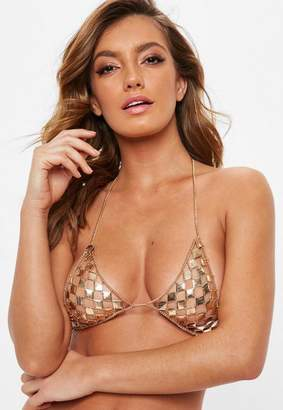Missguided Gold Square Chain Bralette Top