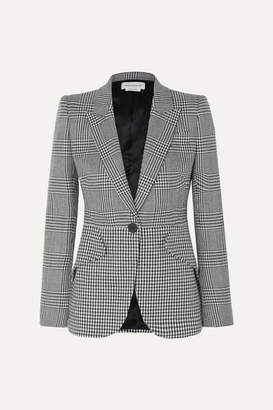 Alexander McQueen Prince Of Wales And Houndstooth Checked Wool Blazer - Black