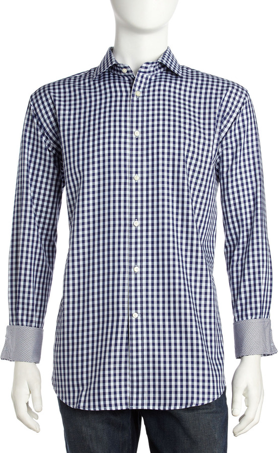Neiman Marcus Gingham Dress Shirt, Navy