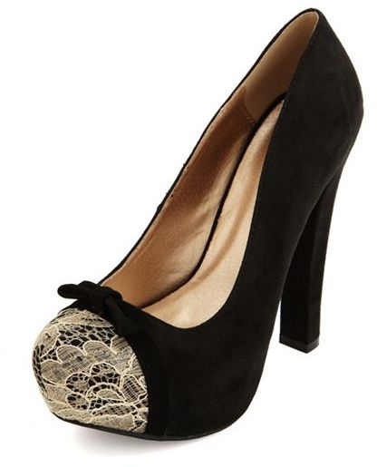 Charlotte Russe Thick-Heeled Lace Toe Sueded Pump