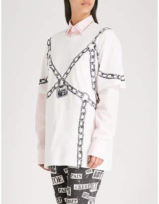 Moschino Chain-print cotton-jersey T-shirt