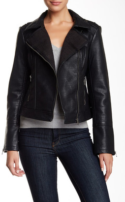 BNCI by Blanc Noir Sweater Bonded Faux Leather Moto Jacket $120 thestylecure.com