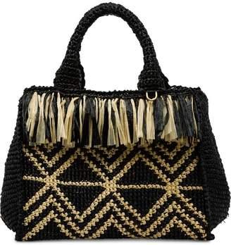Prada Raffia handbag with fringe