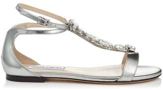 Jimmy Choo Averie Leather Crystal Sandals