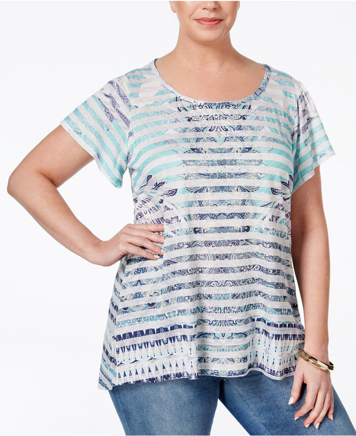 Style & Co. Plus Size Printed Short-Sleeve Tunic, Only at Macy's