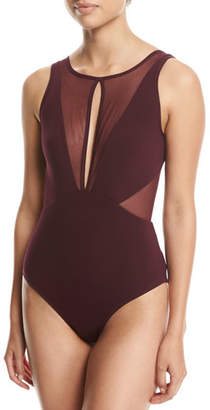 Jets Aspire High-Neck One-Piece Swimsuit, Purple