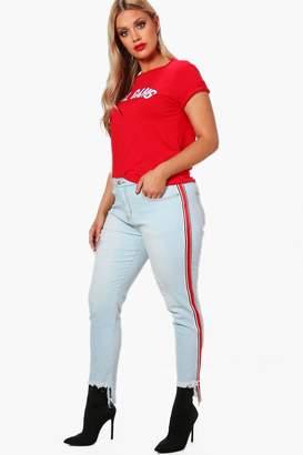 boohoo Plus Sports Trim Skinny Jeans