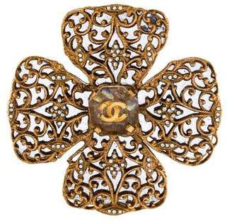 Chanel Crystal Maltese Cross Brooch